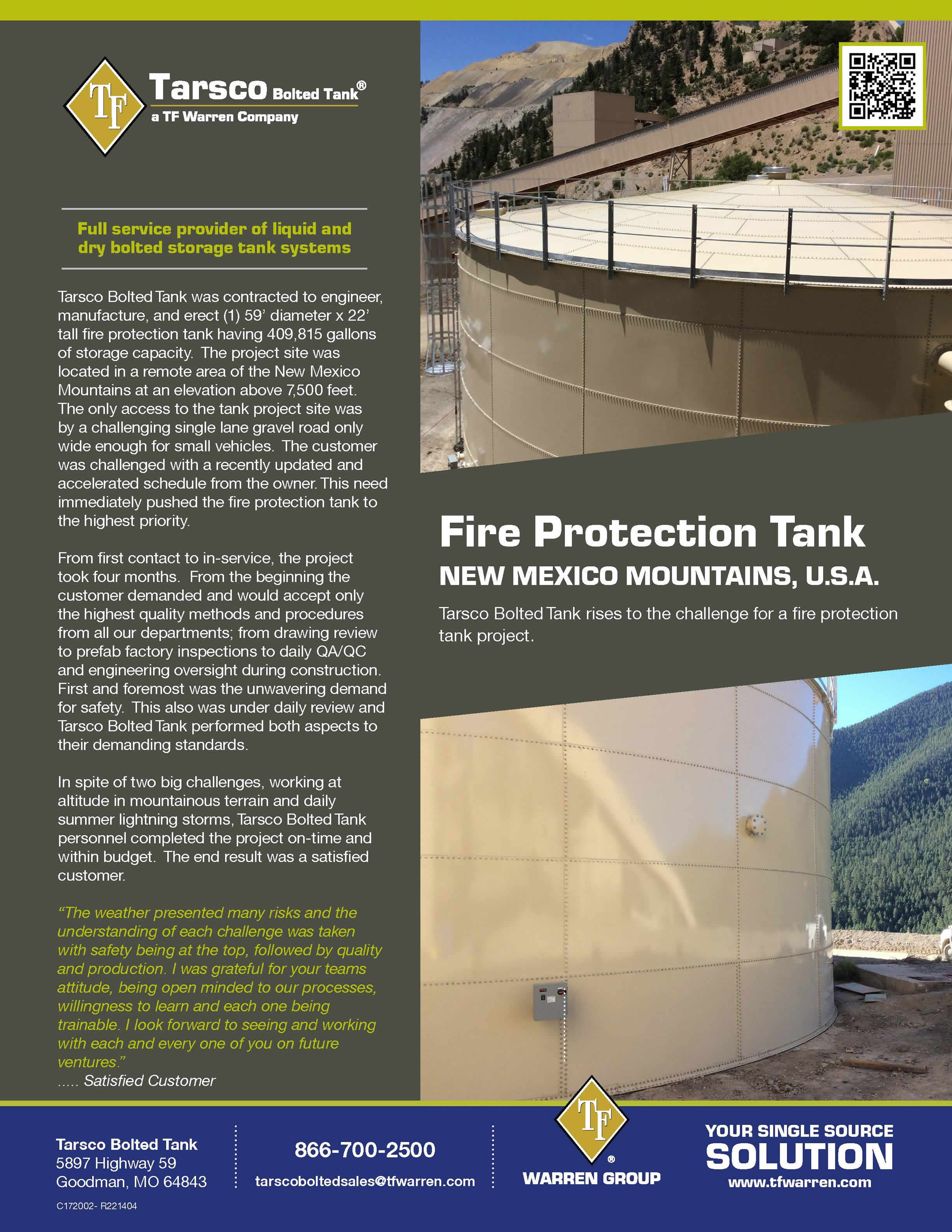 Fire Protection Tank, New Mexico Mountains