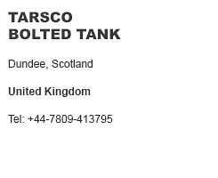 Tarsco Bolted Tank United Kingdom
